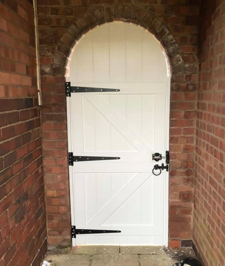 Garden pedestrian side garden gate arched upvc